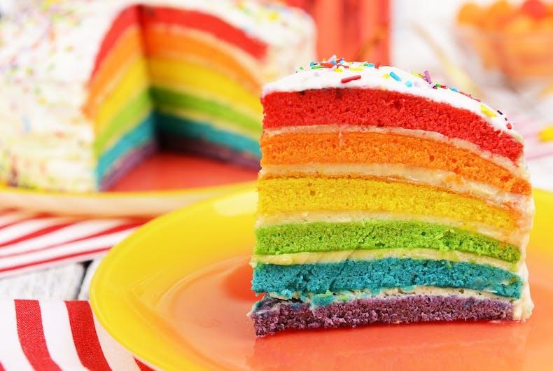 image of a rainbow cake/ gayceañera
