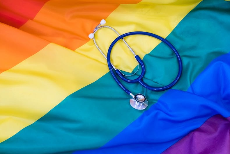 Rainbow flag with a stethoscope