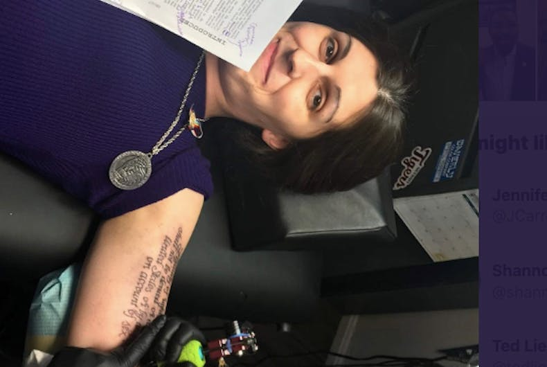 Transgender Virginia House Delegate Danica Roem gets the Equal Rights Amendment tattooed onto her arm.