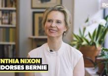 "Cynthia Nixon endorses Bernie Sanders, says he'll ""turn the system upside down"""