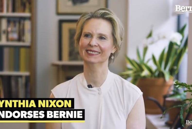 Cynthia Nixon endorsing Sen. Bernie Sanders in a video released on Feb. 7, 2020