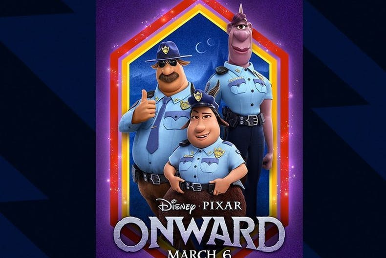 Characters in the film Onward, from Right to Left: Officer Spector (voiced by Lena Waithe), Officer Gore (Ali Wong), and Officer Colt Bronco (Mel Rodriguez).