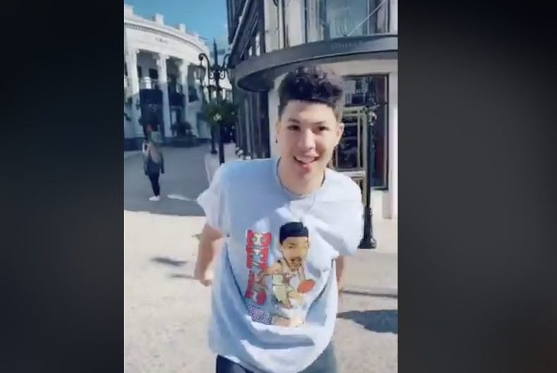 Teen social media personality Jackson Mahomes in a TikTok video