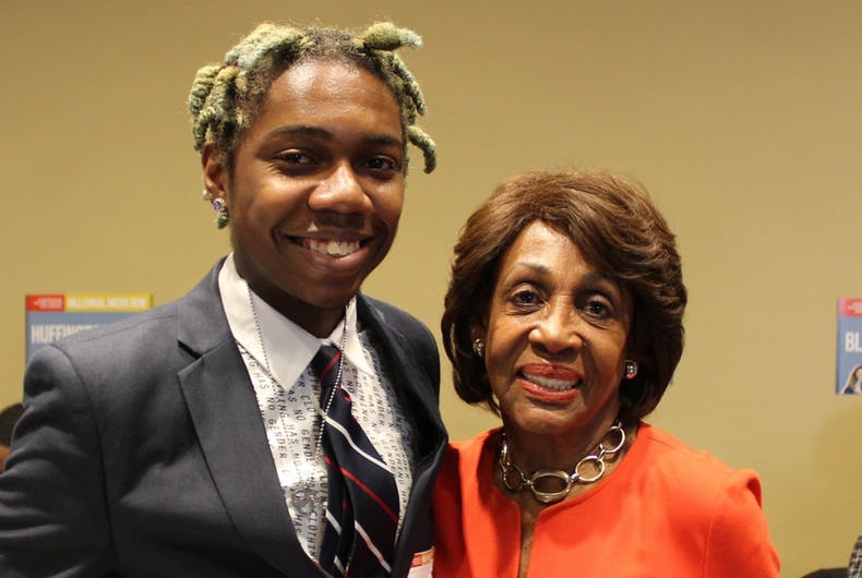 Juwan Holmes and Rep. Maxine Waters (D-CA)