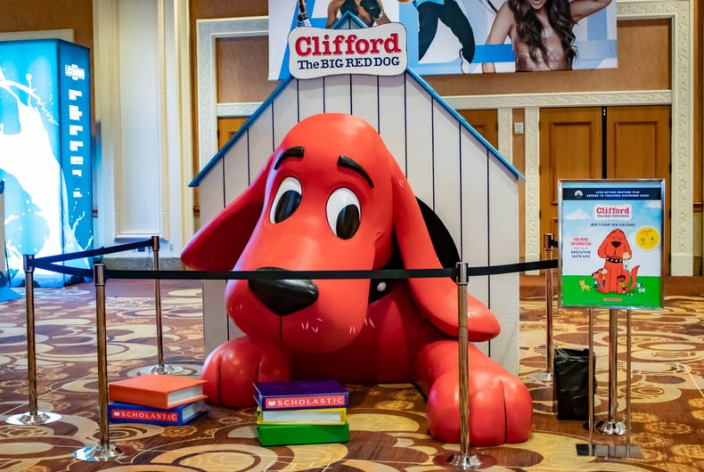 LAS VEGAS; A mannequin of Clifford the Big Red Dog from Scholastic welcomes attendees at the 2019 Licensing Expo Trade Show