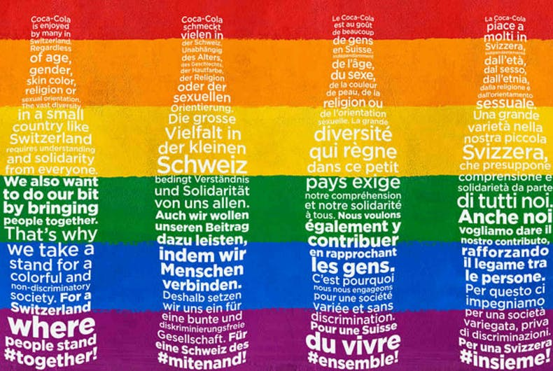 The Coca-Cola covers in four languages