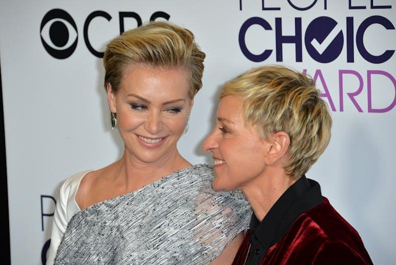 Ellen Degeneres and Portia de Rossi at the 2017 People's Choice Awards.