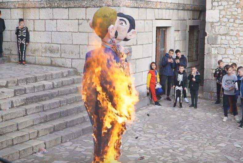 Residents burn an effigy of a gay couple in Croatia