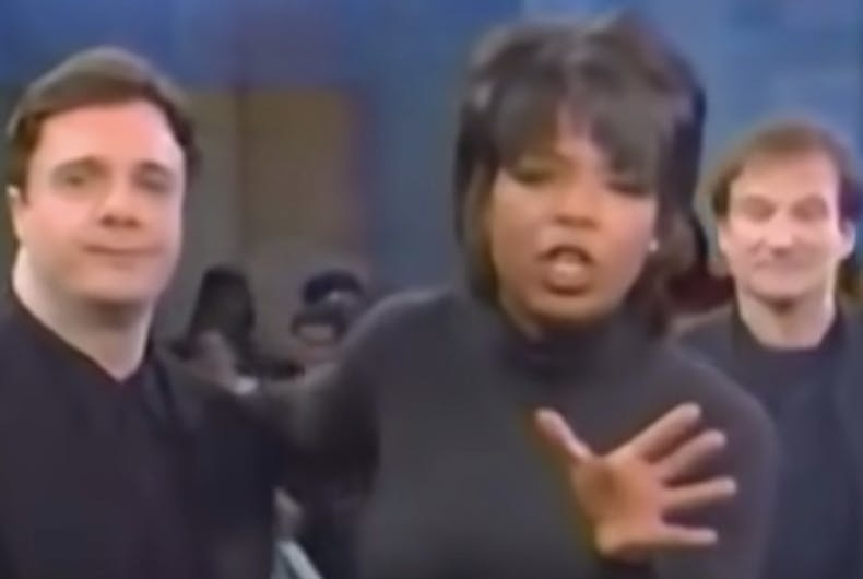 Nathan Lane with Oprah Winfrey and Robin Williams during a 1996 TV interview.