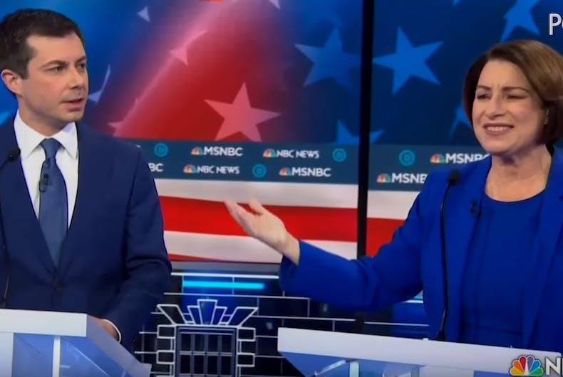 Pete Buttigieg and Amy Klobuchar at the Democratic debate