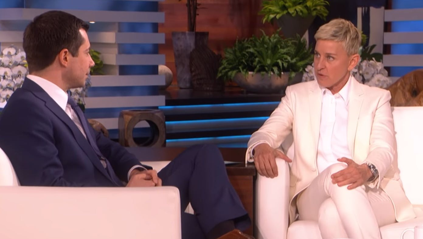 "Pete Buttigieg talks to Ellen about Rush Limbaugh's homophobic ""Mr. Man"" comments"