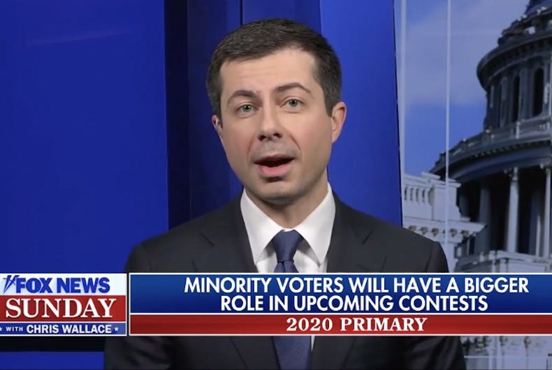 Pete Buttigieg appearing on Fox News Sunday