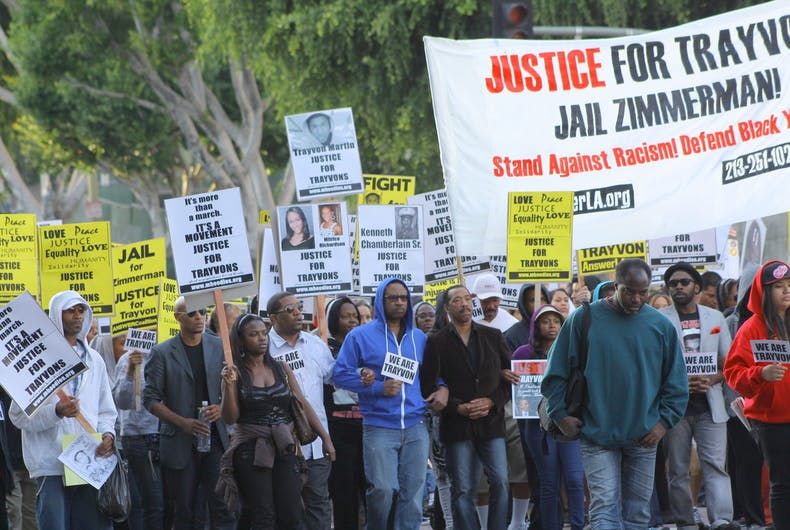 APRIL 9, 2012: Protesters march in support of Trayvon Martin and other victims of violence in Los Angeles