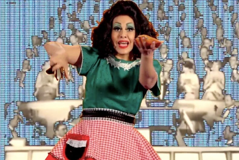 Xandra Ibarra in Spictacle II: La Tortillera, a performance art video currently banned from appearing at the XicanX: New Visions art exhibit at the Centro de Artes