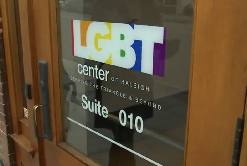 One of the entrances to the LGBT Center of Raleigh.