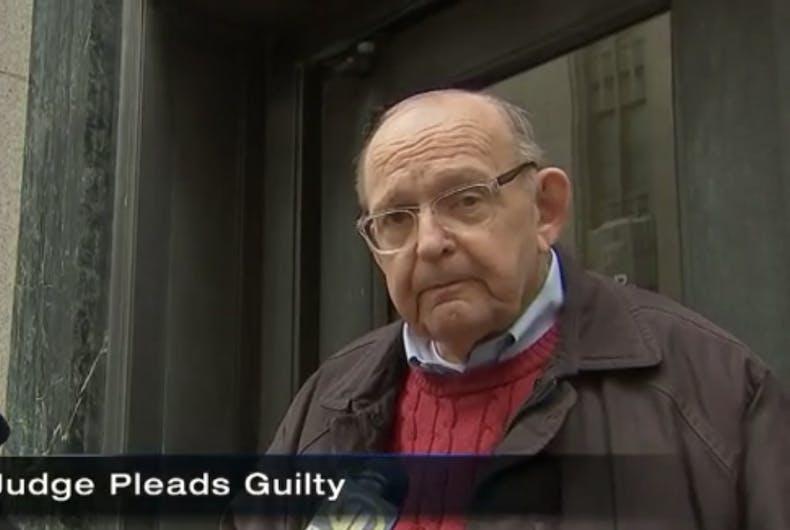 Judge Karl Alexander being interviewed after his conviction.