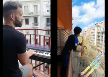 A quarantined gay man played piano on his balcony for neighbors. Then someone brought out the sax.
