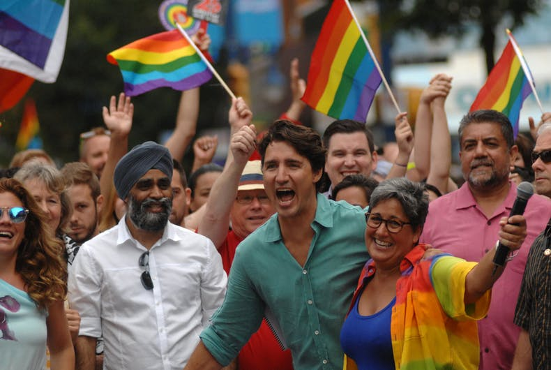 Prime Minister of Canada Justin Trudeau and his family take part in the 38th annual Pride Parade in Vancouver, Canada, July, 31, 2016.