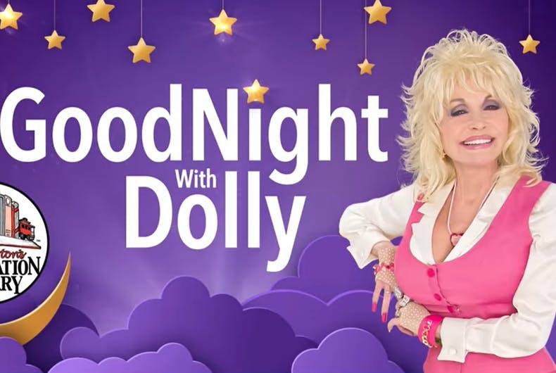 Dolly Parton wearing pink next to the words