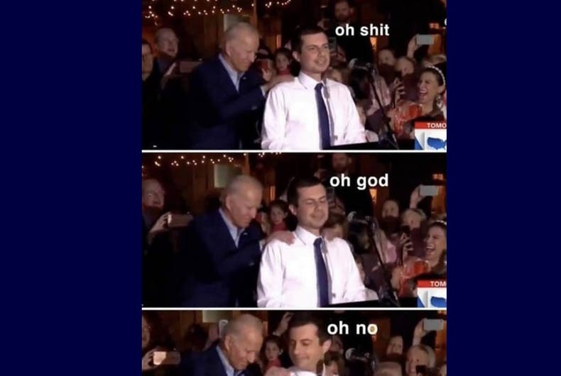 The meme with Joe Biden and Pete Buttigieg