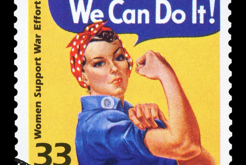 Rosie the Riveter on a stamp