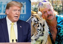 "Donald Trump joked that he'll ""look into"" a pardon for Joe Exotic at coronavirus briefing"