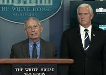 "Anthony Fauci calls out ""extraordinary stigma"" gays face while standing right in front of Mike Pence"