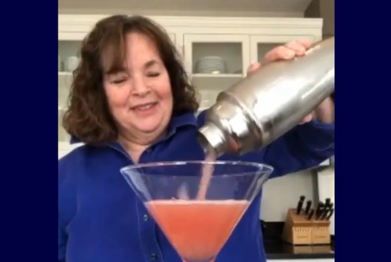 Ina Garten pouring her cosmo into an enormous martini glass