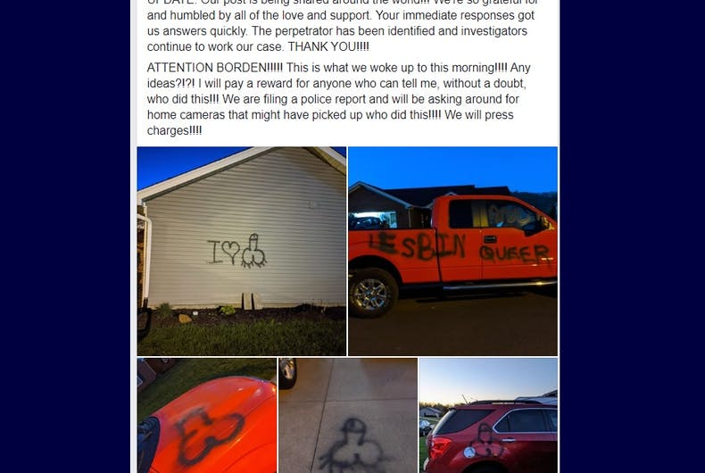 Facebook post showing images of the graffiti