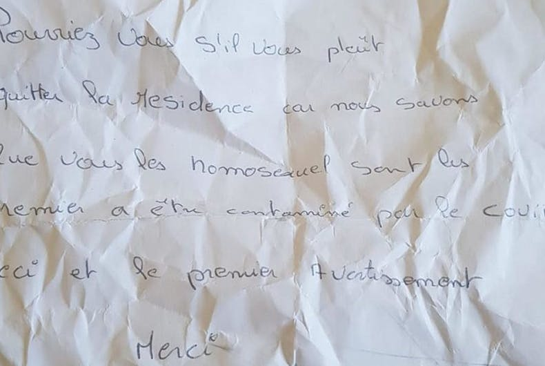 The note left on the windshield of David's partner's car