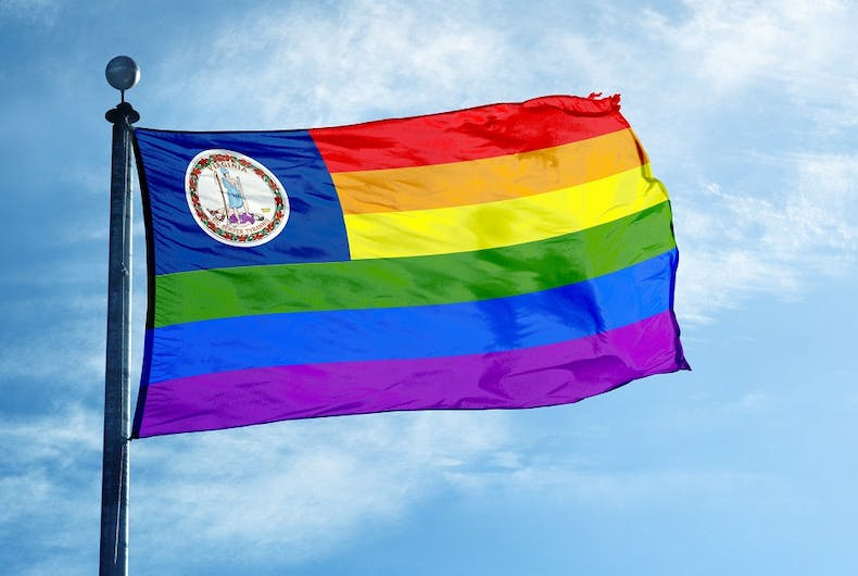 Flag with Virginia state seal and the rainbow colors in stripes
