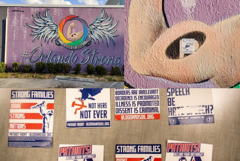 White supremacists vandalized an Orlando memorial to the Pulse nightclub mass shooting