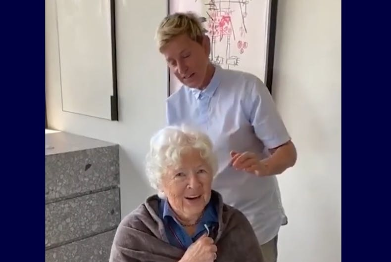 Ellen cutting her mom's hair