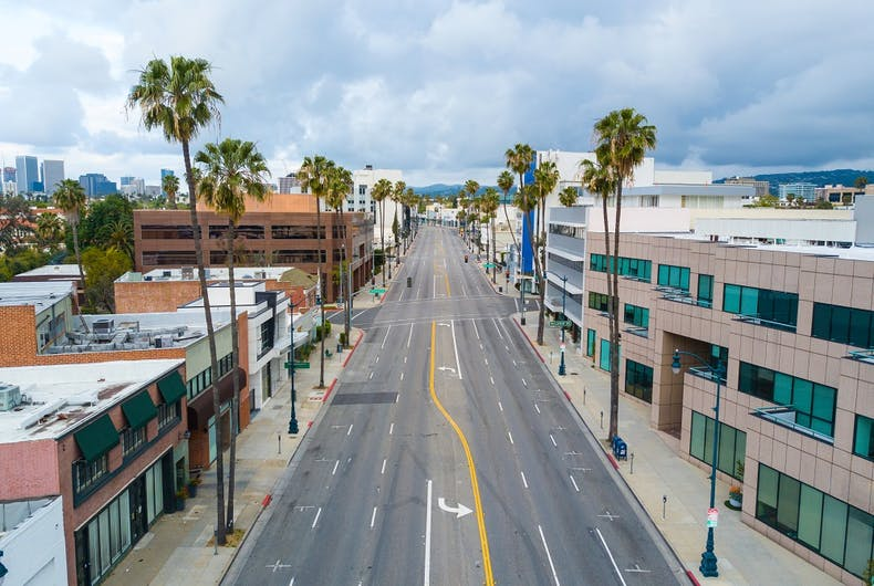 Coronavirus prevention measures have left LA's streets empty, as shown in this April 2020 photo.