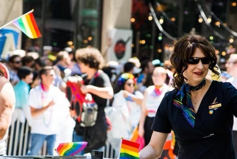 Odette Bishop marching with Alaska Airlines in the 2019 Seattle Pride March.