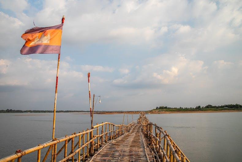 A bridge across the Mekong River in Kampong Cham, Cambodia