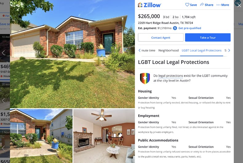 Zillow will now display local LGBTQ nondiscrimination laws on listings