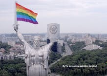Activists used a drone to hang a Pride flag on Ukraine's version of the Statue of Liberty