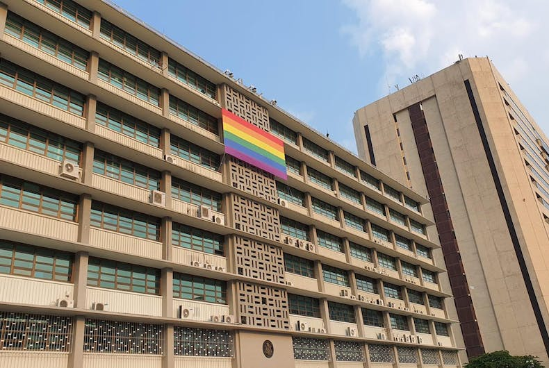 The Chancery at the American embassy in South Korea flies a rainbow flag for Pride month.