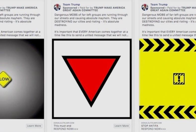 ANTIFA, Facebook ads, Donald Trump, Mike Pence, LGBTQ triangle, Nazis