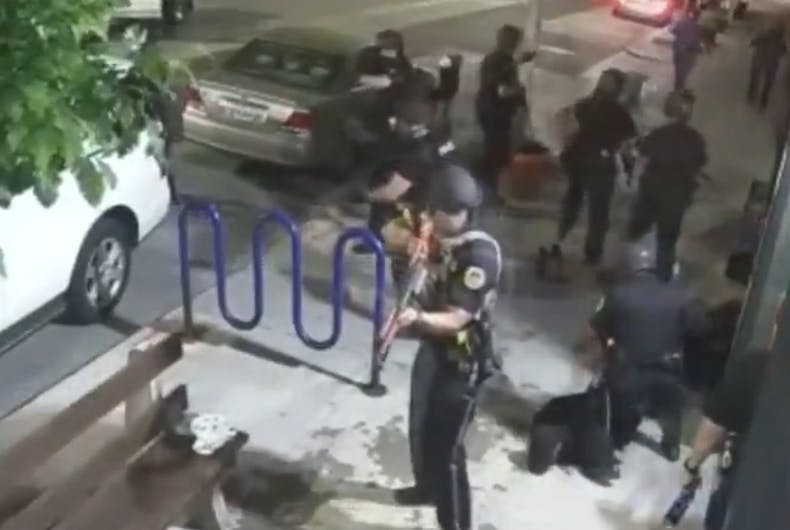 Police arrive at the bar with guns
