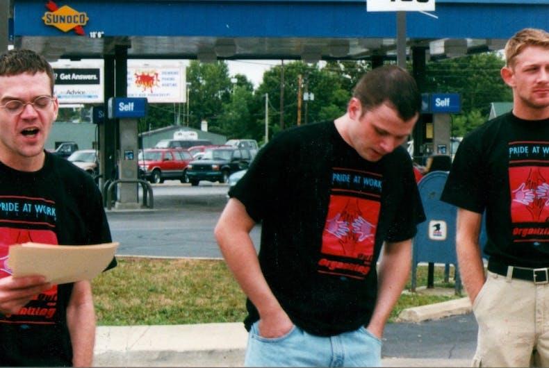 Bil Browning, Jerame Davis, and Matt Owen protest in 1999
