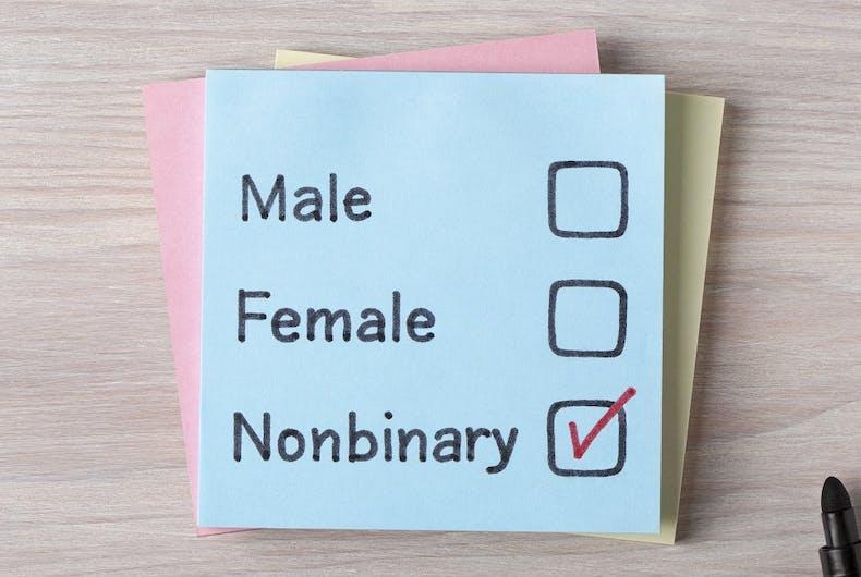 Three choices: Male, Female, Nonbinary