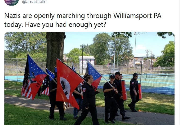 Tweet about the Nazi rally