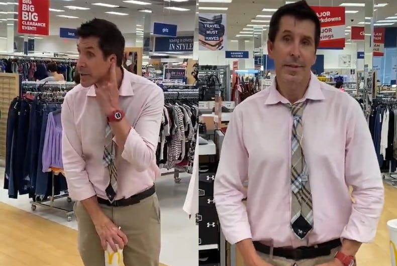 Tim Gaskin was filmed exposing himself and using anti-gay slurs at a discount department store.