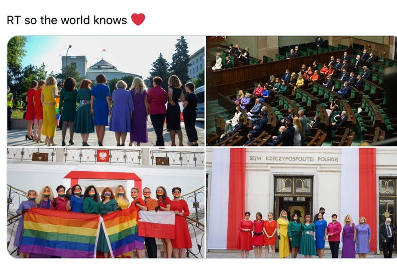 Polish lawmakers protest the President's inauguration by wearing rainbow colored outfits