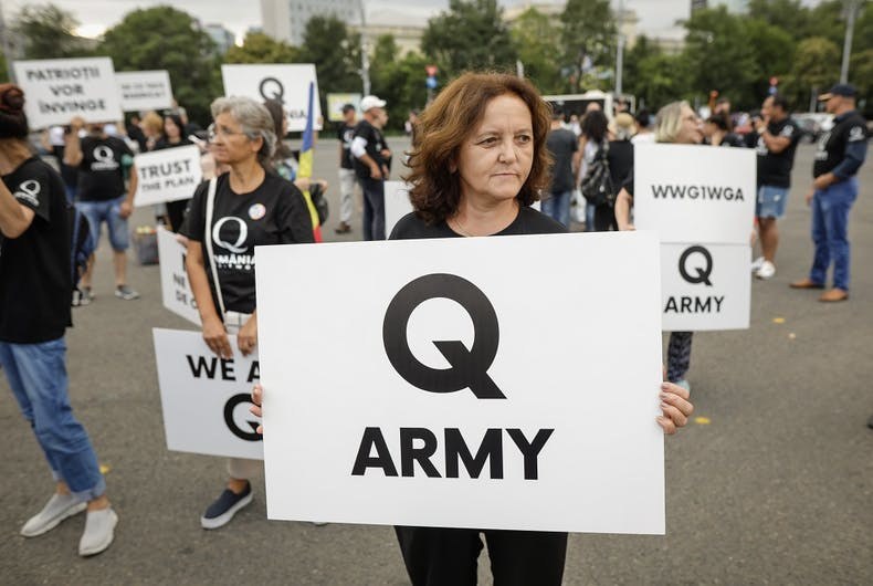 An August 10, 2020 QAnon protest in Bucharest, Romania.