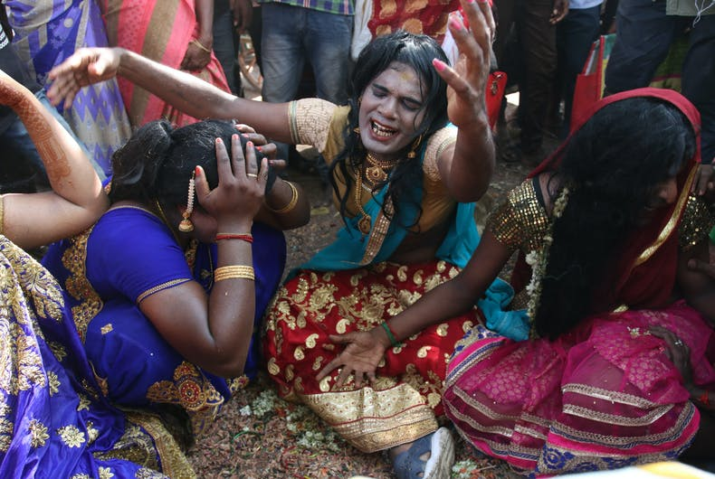 KOOVAGAM, TAMIL NADU / INDIA - MAY 4, 2019: Transgender people performing before a crowd