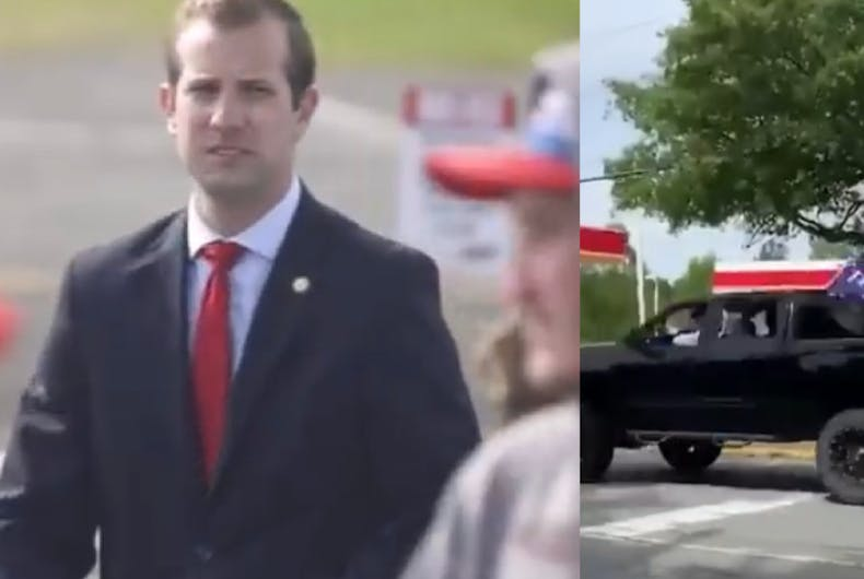 Pastor Jesse Hurley, at a Trump rally (left) at ACE Speedway, North Carolina, and driving on Elon University campus after (right)