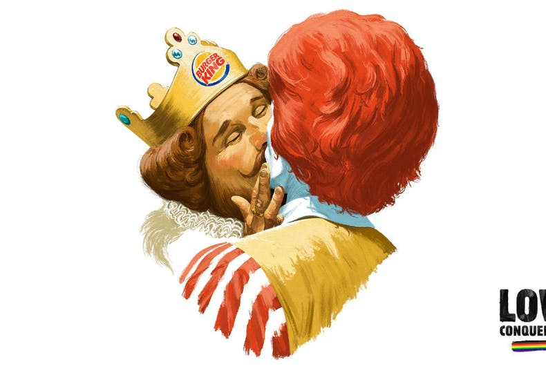 Burger King and Ronald McDonald lock lips in a new ad celebrating Pride week in Helsinki